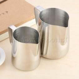 1pc Silver Espresso Coffee Mug Milk Frothing Steaming Pitche