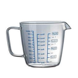 Blue Stones 250/500ml Glass Measuring Cup Milk Jug Cafe Crea