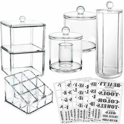 Acrylic Makeup Organizer Storage Bathroom Cotton Ball Qtip S