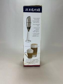 BonJour Battery-Powered Cafe Latte Frother with Stand Chrome