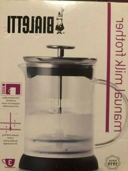 Brand New Bialetti Manual Glass Milk Frother 3 Cups Cappucci