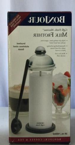 Bonjour Caffe Froth Maximus Manual Milk Frother Brushed Stai