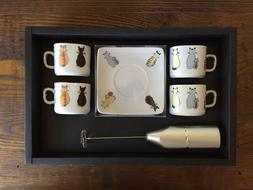 """Cats"" Espresso Cups and Saucers  Set of Four + Milk Frother"