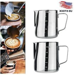 Espresso Coffe Milk Frother Pitcher Creamer Measuring Cups J
