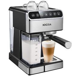 AICOOK Espresso Machine, Cappuccino Latte Coffee Maker w/ Au