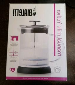 Bialetti Glass Manual Milk Frother 3 Cups for Cappuccino  #0