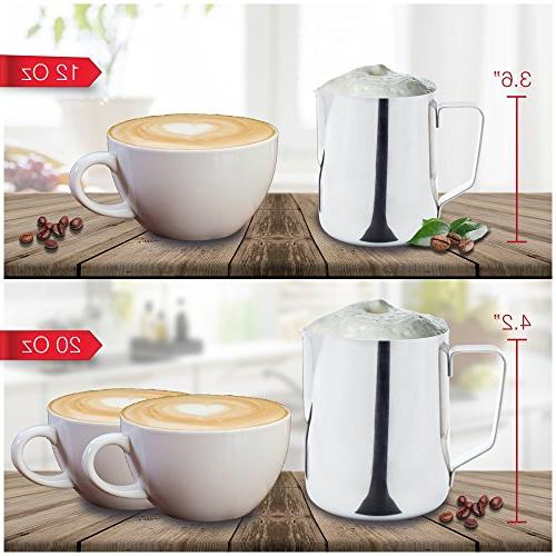 Stainless Steel Milk Pitcher with Measurement and Storage Bag - Hot and