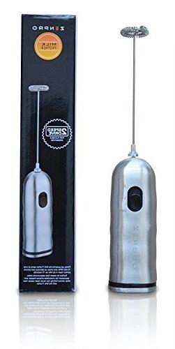 Zenpro Stainless Steel Milk Frother, Dual Speed, Silver
