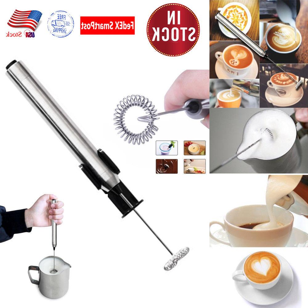 battery powered electric milk frother with stand