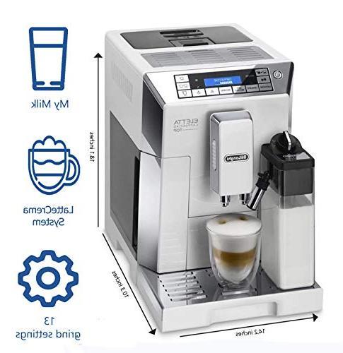 Delonghi espresso machine - with adjustable ceramic double boiler, milk for brewing cappuccino, latte & macchiato, Eletta ECAM