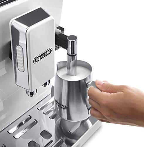 Delonghi super-automatic machine - adjustable ceramic grinder, double for brewing espresso, cappuccino, latte & macchiato, ECAM