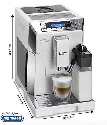Delonghi espresso machine with adjustable silent double boiler, milk for latte & Eletta ECAM 45760