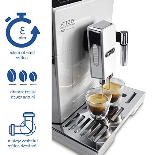 Delonghi super-automatic espresso machine with an adjustable ceramic grinder, double for espresso, latte macchiato, ECAM 45760