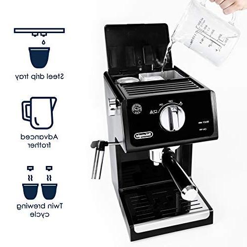 De'Longhi Bar Espresso Machine Cappuccino System, Black/Stainless