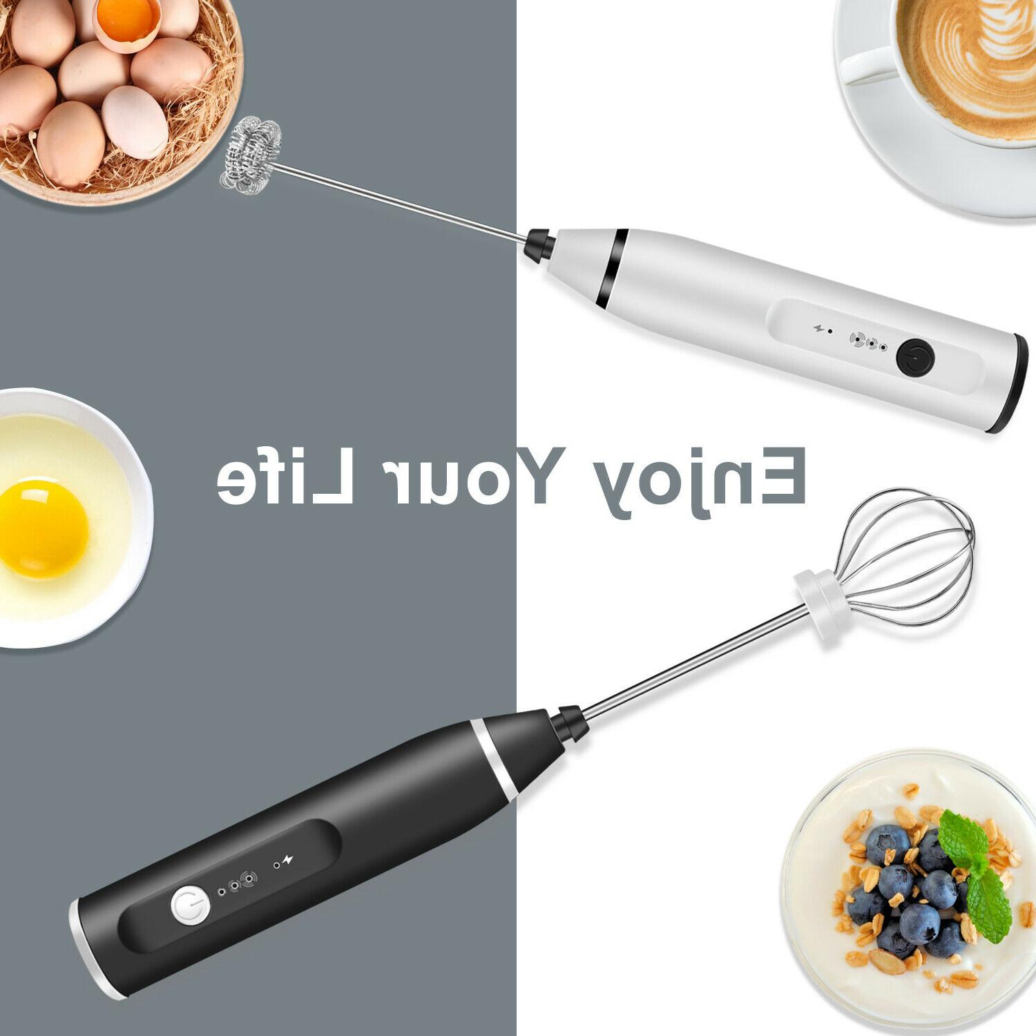 Rechargeable Electric Handheld Double Whisk Maker Coffee