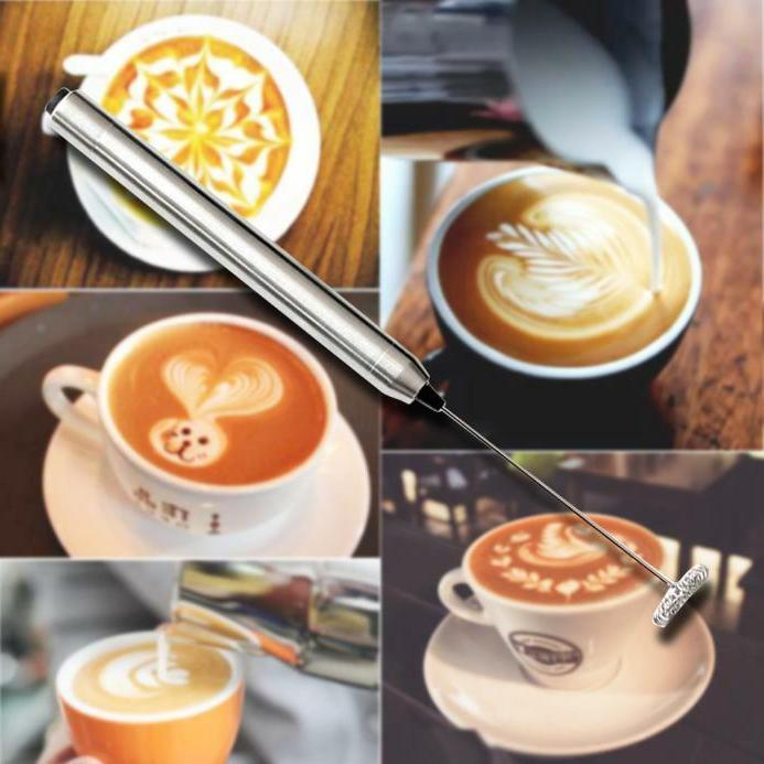 electric stainless steel milk frother wand slim