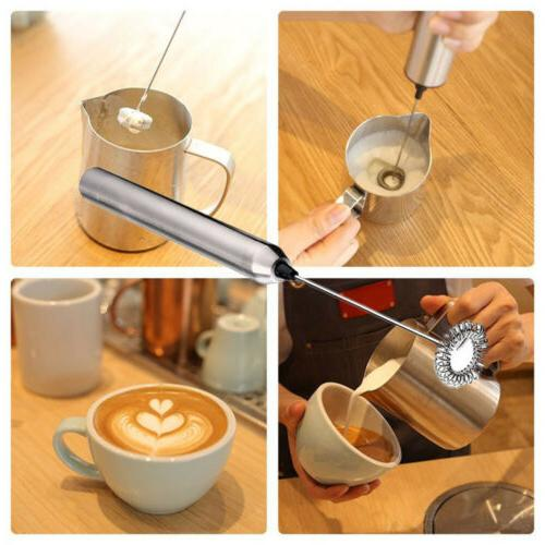 electric stainless steel slim handheld milk frother