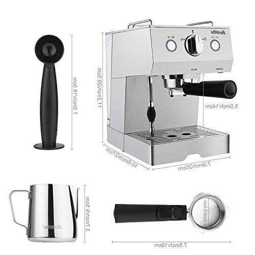 Barsetto Espresso Milk Frother,Espresso Maker with Bar Steel
