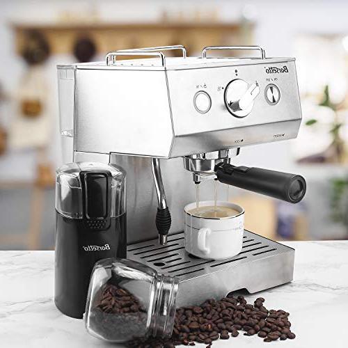 Barsetto Espresso Milk Maker milk steamer,1050W,15 Bar Steel