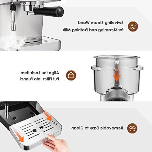 AICOK Maker, Coffee Maker, Moka Maker, Maker with Bar Steel