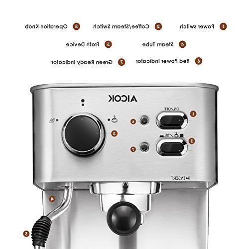 AICOK Espresso Machine, Maker, Moka Espresso with Milk 15 Bar 1050W, Steel