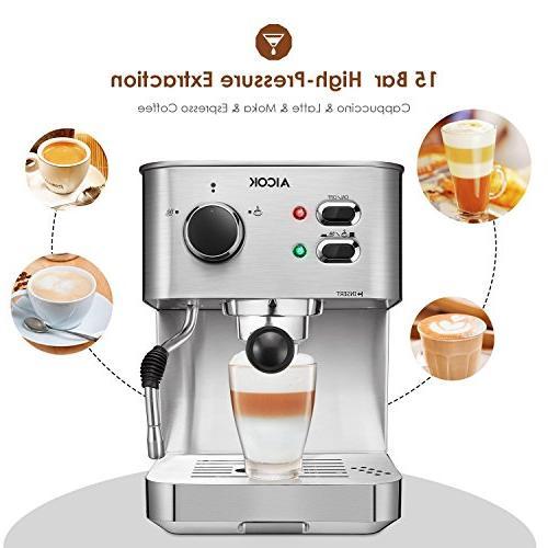 AICOK Espresso Maker, Latte Maker, Moka Maker, with Frother, Bar Steel