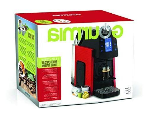 Gourmia GCM5100 Multi Espresso - Serve - Compatible with K-Cup Pods & Nespresso - Digital Display Red