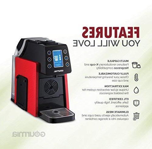 Gourmia Touch Espresso Machine Serve - K-Cup & Nespresso - Display Red