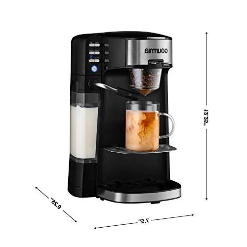 Gourmia 6 In 1 Single Serve One Touch Cappuccino, Latte, & Chai/Milk Built-In Milk Frother - K-Cups/Ground Coffee/Loose - Cup