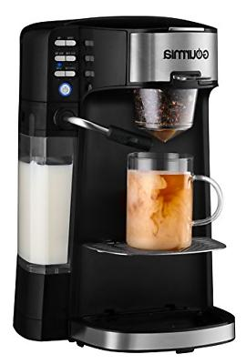 Gourmia 1 Single Serve - Cappuccino, Coffee, & Built-In Milk - K-Cups/Ground Coffee/Loose Leaf - Steams Into Cup