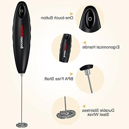 Bonsenkitchen Handheld Frother, Steel Mixer for and Hot Chocolates, Battery Included