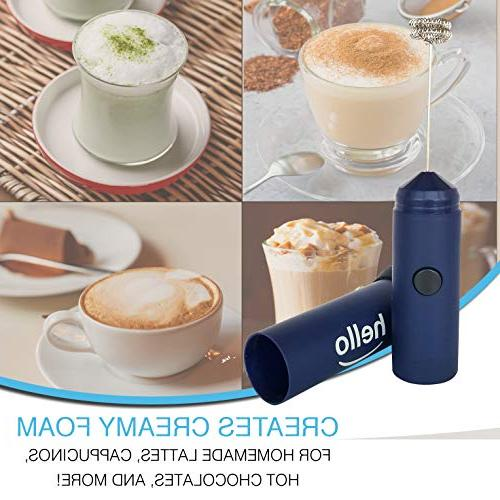 HELLO Milk Double Whisk Head, Battery Maker Coffee, Lattes, Hot Chocolate, Sleek Drink Mixer Stand