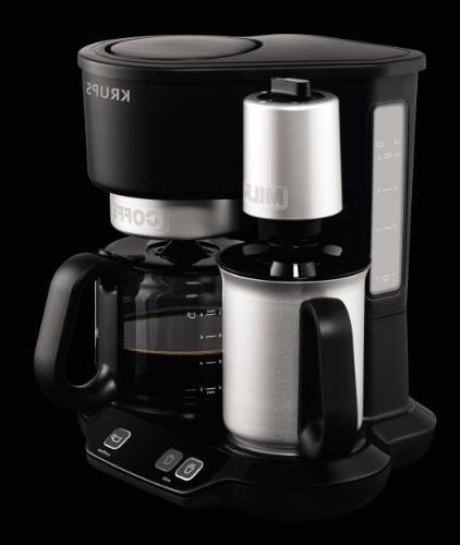 KRUPS 2-in-1 Coffee Maker Machine Professional Frother, Black