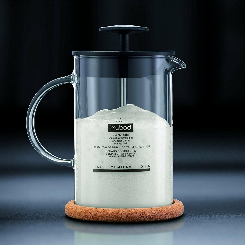 Bodum Latteo Borosilicate Glass 250ml 8oz Plastic Lid Black