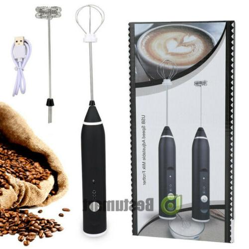 milk electric frother cordless coffee foamer hand