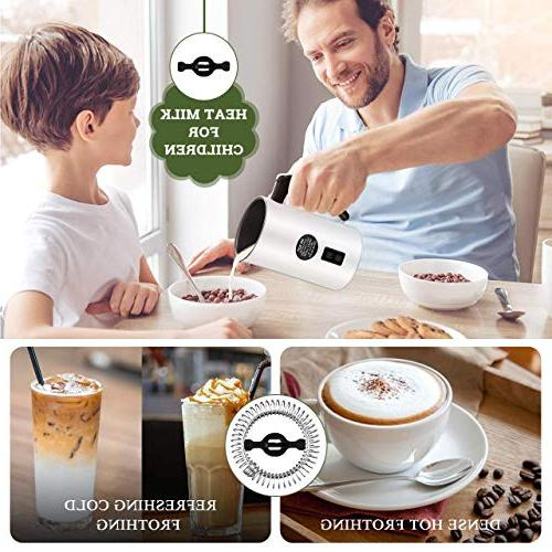 Milk Frother, Homitt Automatic Electric Warmer Coffee Milk Frother for Mocha and Hot with 2 Whisk Sets included