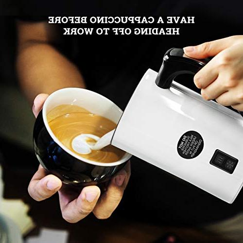 Milk Automatic Electric Milk Warmer Stainless Coffee Milk Frother for Cappuccino, and Hot with 2 Whisk Sets