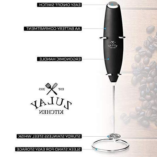Zulay Frother Handheld Battery for Bulletproof Drink Mini Blender and Foamer Cappuccino, Chocolate Milk Boss