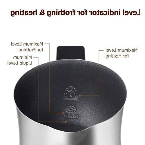 Milk Milk Frother & with or Cold Function, Anti-hot Base Non-Stick for Chocolate, Cappuccino