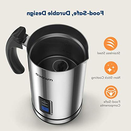 Milk Frother, Milk Steamer Stainless Steel, Automatic Hot Milk Heat Froth Whisks Latte, Coffee, Chocolates, with Control