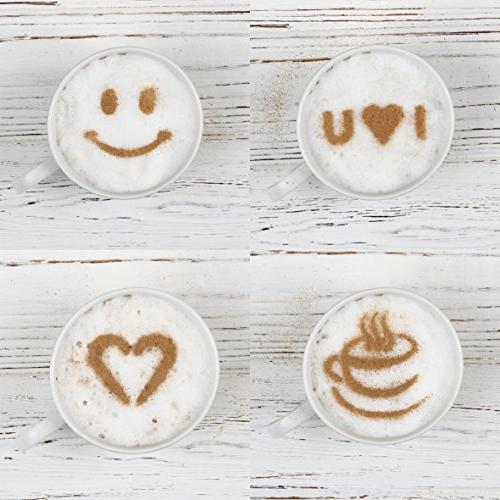 Best Coffee Art - Electric Portable Foam Maker Drink - Hot Chocolate Latte - Powder Cocoa Stencils