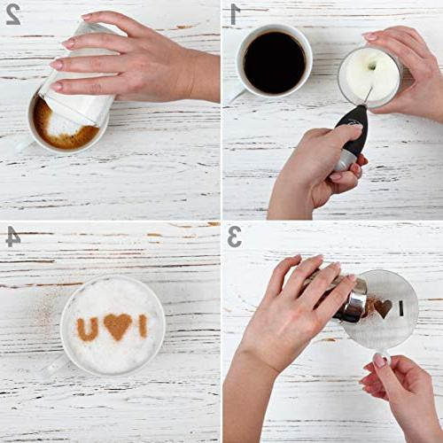 Best Milk Frother Art Set Electric Portable Maker - Operated Drink Mixer Hot Chocolate Latte - Whisk Powder Cocoa Shaker Stencils