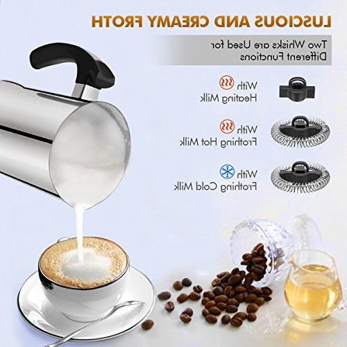 Milk Frother, Electric Milk Steamer or Cold Functionality, Milk Frother Stainless for Coffee, and Macchiato