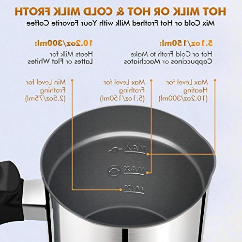 Milk Electric Milk Steamer Hot Frother Warmer, Stainless Steel, Foam for Macchiato