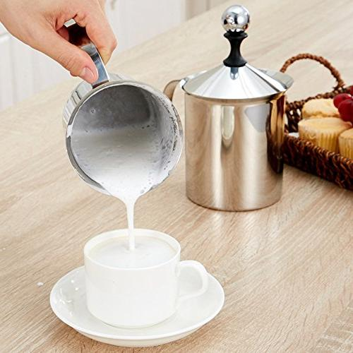 Milk Frother Creamer Double Mesh Milk Foam Frothing Froth Pump Foamer for Chocolate Coffee Latte Cappuccino