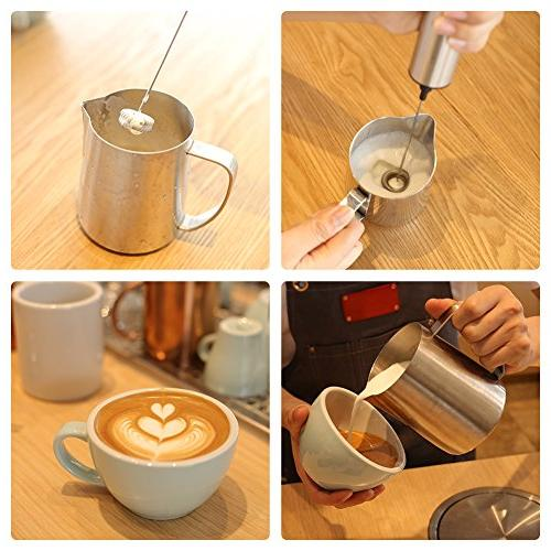 Sedhoom Milk Frother Travel Coffee Battery Operated, Foam with both