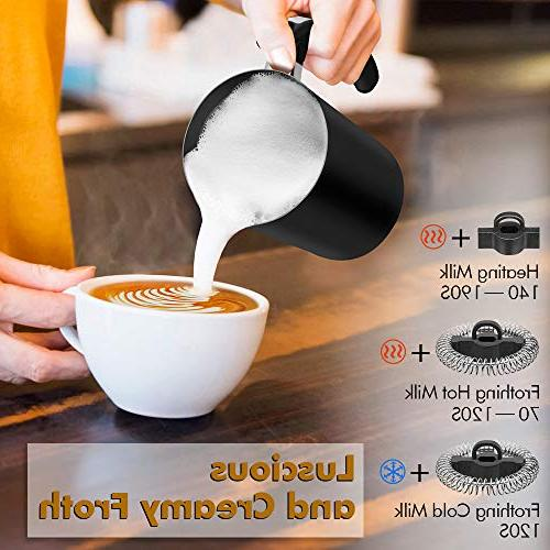 Milk Frother, Steamer New Foam Density with Cold Milk Function for Cappuccino