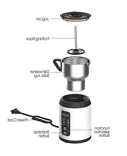 Casara Milk Frother Electric Milk Warmer Cappuccino, Latte, Hot Hot with Detachable Stainless Jug- Dishwasher free