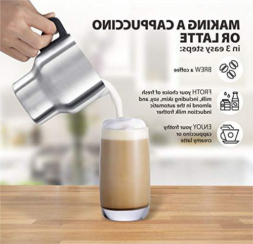 Casara Frother Warmer for Coffee, Latte, Hot Chocolate,Matcha Hot Chocolate with Detachable Stainless Steel Jug- BPA free