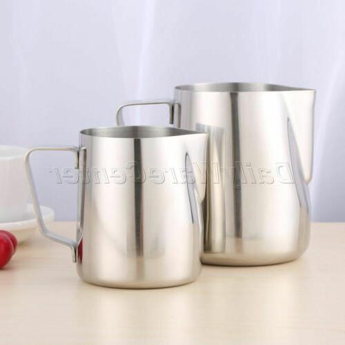 new silver espresso coffee jug mug frothing